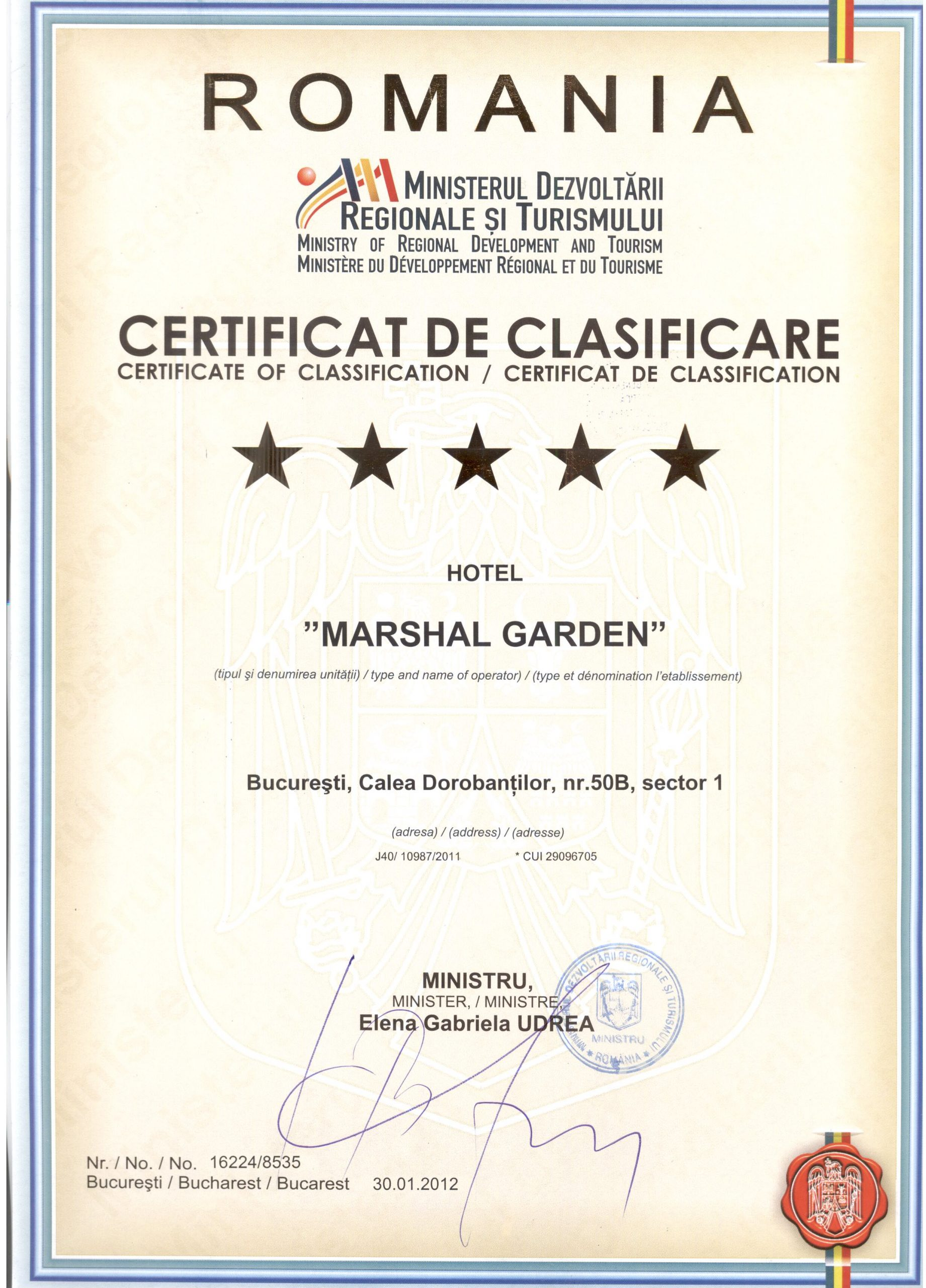 Contact Hotel Marshal Garden Bucuresti