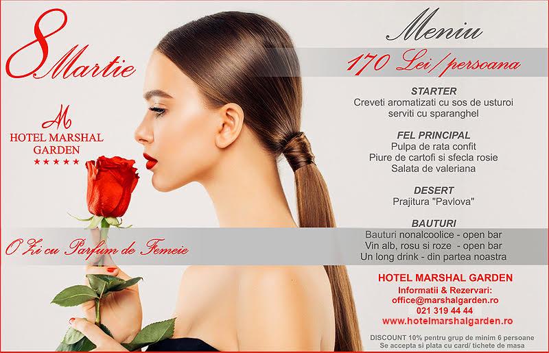 Meniu 8 martie la Hotel Marshal Garden 170 lei/persoana